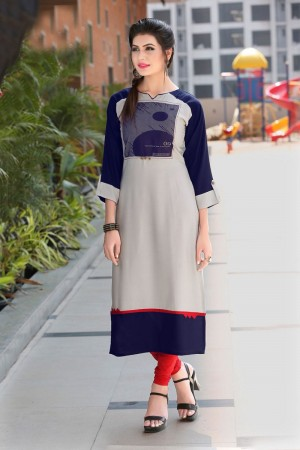 Enthralling Multicolor Reyon Print with Fancy Kurti