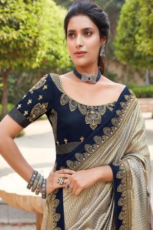 Golden & Navy Blue Satin Georgette Saree with Blouse