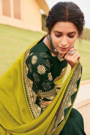 Lime & Dark Green Satin Georgette Saree with Blouse