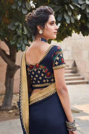 Navy Blue & Mustard Satin Georgette Saree with Blouse