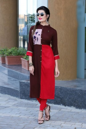 Captivating Multicolor Reyon Print with Fancy Kurti