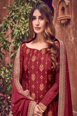 Red Pure Dola Jacquard Salwar Kameez