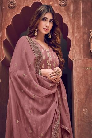 Dusty Pink Pure Dola Jacquard Salwar Kameez