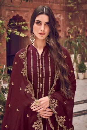Maroon Pure Dola Jacquard Salwar Kameez