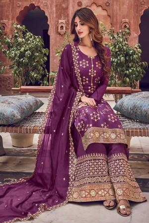 Purple Pure Dola Jacquard Salwar Kameez