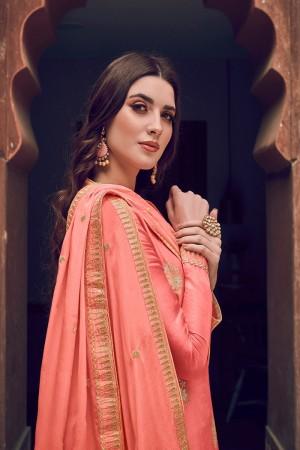 Peach Pure Dola Jacquard Salwar Kameez