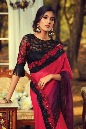 Tometo red Burberry Silk Saree with Blouse
