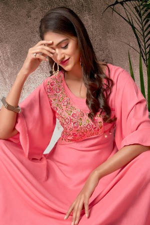 Pink Heavy Rayon Gown