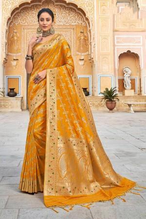 Yellow Banarasi Silk Saree with Blouse