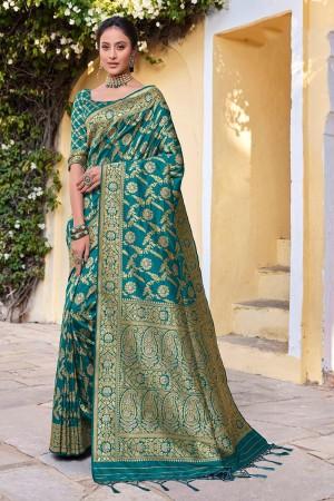 Teal Banarasi Silk Saree with Blouse