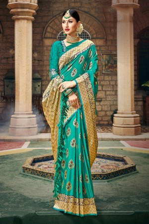 Light Teal Banarasi Silk Saree with Blouse