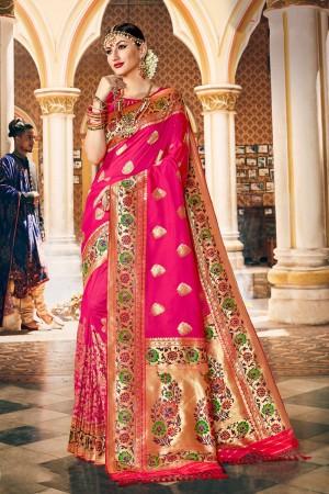 Rani Pink Banarasi Silk Saree with Blouse