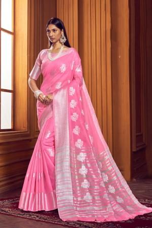 Light Pink Linen Saree with Blouse