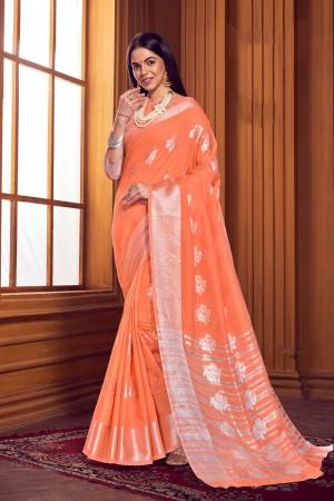 Orange Linen Saree with Blouse