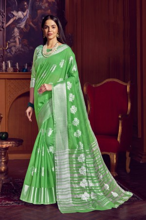 Parrot Green Linen Saree with Blouse
