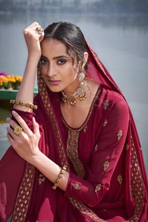 Maroon Faux Georgette Salwar Kameez