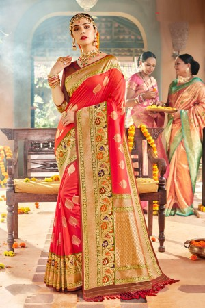 Coral Soft Silk Saree with Blouse