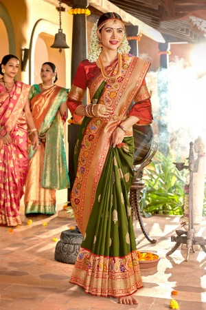 Mehendi Soft Silk Saree with Blouse