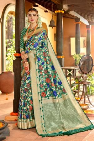 Light Teal Soft Silk Saree with Blouse