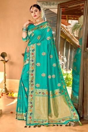 Firozi Soft Silk Saree with Blouse