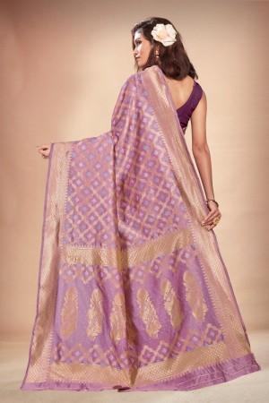 Lavender Banarasi Silk Saree with Blouse