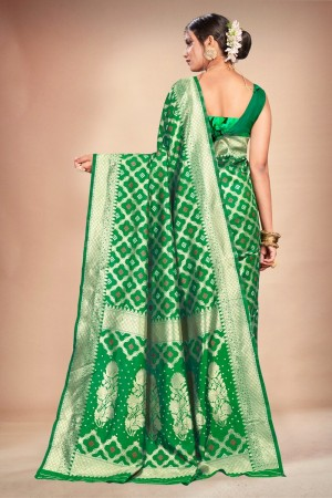 Green Banarasi Silk Saree with Blouse