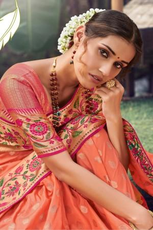Orange Silk Saree with Blouse