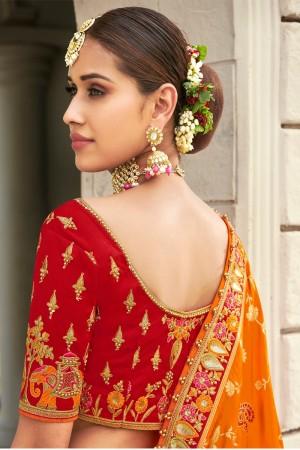 Multicolor Jacquard Silk Lehenga Choli