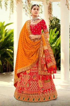 Red Jacquard Silk Lehenga Choli