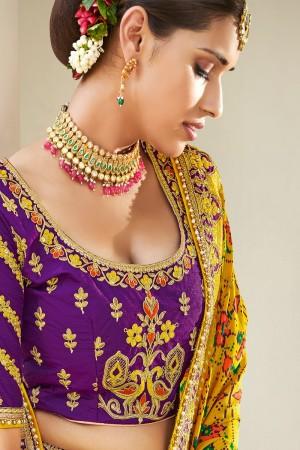 Purple Jacquard Silk Lehenga Choli