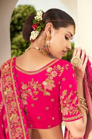 Rani Pink Jacquard Silk Lehenga Choli