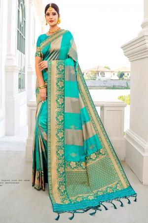 Firozi Silk Saree with Blouse