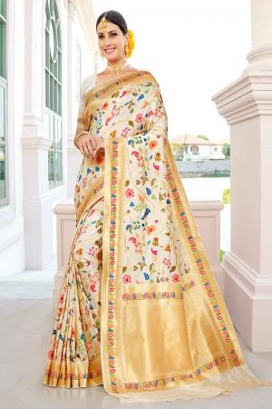 White Silk Saree with Blouse