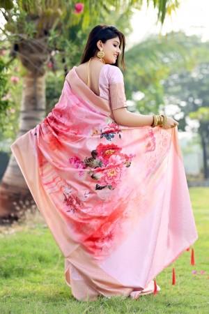 Pink Jacquard Silk Saree with Blouse