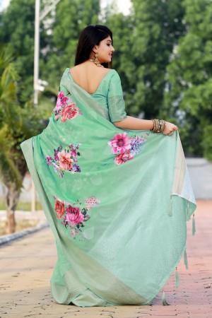 Light Green Jacquard Silk Saree with Blouse