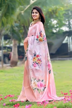 Baby Pink Jacquard Silk Saree with Blouse