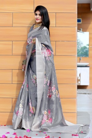 Grey Jacquard Silk Saree with Blouse
