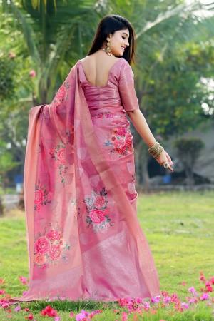 Gajri Jacquard Silk Saree with Blouse