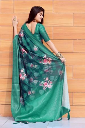Teal Jacquard Silk Saree with Blouse