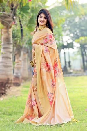 Light Orange Jacquard Silk Saree with Blouse