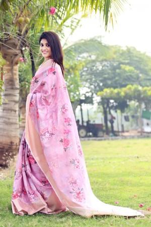 Light Pink Jacquard Silk Saree with Blouse