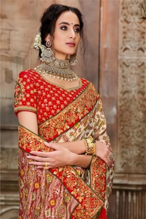 Cream Pure Silk Saree with Blouse