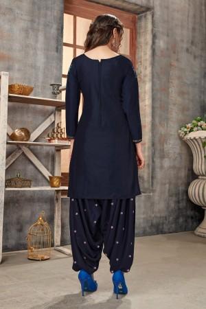 NavyBlue Glaze Cotton Dress Material