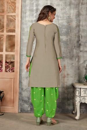 Grey Glaze Cotton Dress Material