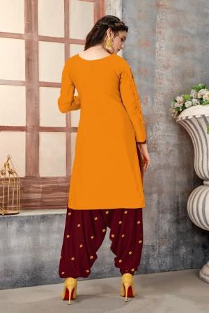 Mustard Glaze Cotton Dress Material