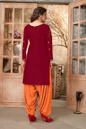 Maroon Glaze Cotton Dress Material