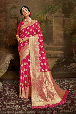 Pink Soft Silk Saree with Blouse