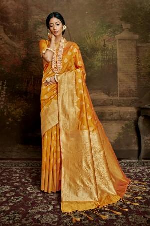 Mustard Soft Silk Saree with Blouse