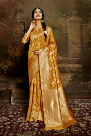 Mustard Soft Silk Saree with Blouse