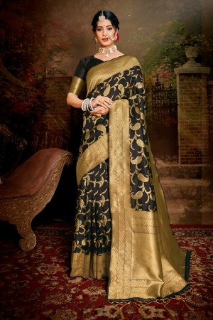 Black Soft Silk Saree with Blouse